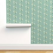 Peel-and-stick Removable Wallpaper Mid Century Mod Lava Lamps Stripes Mint Green