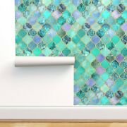 Wallpaper Roll Moroccan Mint Gold Ogees Quatrefoil Green Watercolor 24in X 27ft