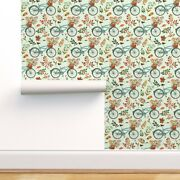 Wallpaper Roll Bicycle Cute Watercolor Painting Leaves Fall 24in X 27ft