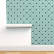 Wallpaper Roll Retro Duck Egg Blue And Brown Anchor Ship Ocean Sea 24in X 27ft