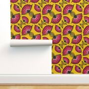Wallpaper Roll African Art Mustard Golden Pink Yellow Illustrated 24in X 27ft
