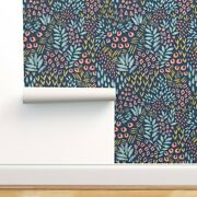 Wallpaper Roll Abstract Shapes Garden Theme Watercolor Effect Dark 24in X 27ft