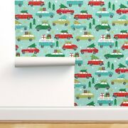 Wallpaper Roll Tiny Vintage Christmas Cars Holiday Xmas Tree Car 24in X 27ft