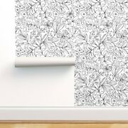 Wallpaper Roll Garden Coloring Book Floral Black White Florals 24in X 27ft