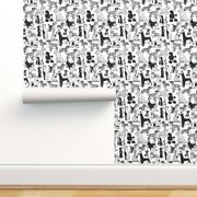 Wallpaper Roll Dog Breeds Small Scale Geometric Black And White 24in X 27ft