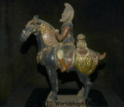 19.2 Antique China Tang Sancai Pottery Dynasty Palace People Ride Horse Statue