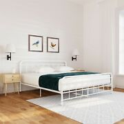 Queen Size Antique Style Egg White Victorian Metal Bed Classic Bedroom Furniture