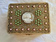31 Vintage Antique Victorian Gilt Jeweled Cameo Jewelry Trinket Box French