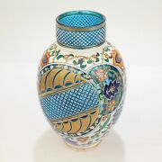 Antique Bohemian Aesthetic Blue And White Cased And Enameled Cut Glass Vase - Gl