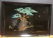 Couroc Of Monterey Ca. Signed Morse Cypress Tree Inlaid Wood Large Tray Tag Mcm