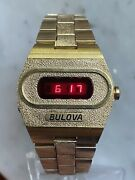 Vintage 1974 Bulova Accuquartz Gold Plated And039big Blockand039 228 Red Led Menand039s Watch