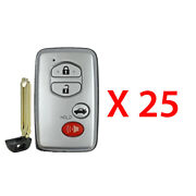 New Replacement For Toyota 2007 - 2010 Smart Prox Key Fob 4b Hyq14aab 25 Pack
