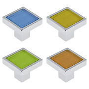 Quluxe 1.2 Inch Zinc Alloy Crystal Glass Cabinet Knob Cabinet Hardware Square Of