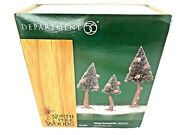 Dept 56 North Pole Woods Village Accessories Set Of 3 Small Pinewood Trees