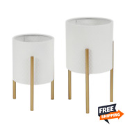 Luxen Home 2-piece White Round Metal Planters And Gold Stand