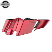 Single Cutout Velocity Red Sunglo Stretched Saddlebags Pinstripes For 14+ Harley