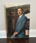 Iraq Saddam Hussin Picture Clock 24and039and039 Inch X16and039and039 Inch Rare Coins