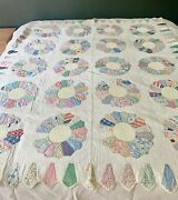 Antique Handmade Dresden Plate Cotton Quilt With Ice Cream Cone Border - Pastels