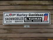 1970's Amf-h/d Snowmobile Dealer/service Sign/ad Personalized Garage Art