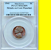 1941 Pcgs Ms63 Nickel On Cent 🔴beautiful Colors ✅✅ Rare Wwii 5c On 1c Planchet