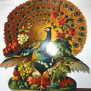 C1900s Victorian Peacock Die Cut Advertising Sign Trade Andrew's Baking Powder
