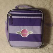 Pottery Barn Kids Fairfax Purple Stripe Lunch Bag With Glitter Planet Patch Nwt