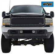 Eag Fits 99-04 F250 F350 Rivet Grille Matte Black Stainless Steel Wire Mesh