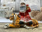 Carved Santa On Tiger Figurine Christmas Decoration Collectible Figure