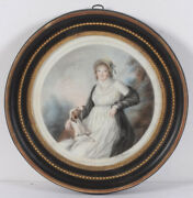 Mlle Riviandegravere Fl. 1800/09 Portrait Of A Lady With Dog High Quality Drawing