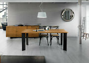 Table Solid Wood Oak With Knots, Various Sizes, Base Metal, Finished Wheat