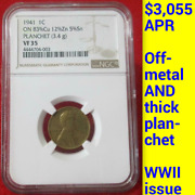 1941 Ngc Vf35 Off-metal Pattern Thick Planchet Wwii 1c ✅ Lincoln Wheat Cent Rare