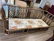 Vintage Mid Century Modern Authentic Bamboo Rattan Sofa And Chair Patio Set