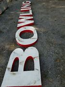 Vintage Bowling Tin Letters Sign