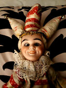 Antique Mechanical Cymbal Clapping Eye Rolling Jester Doll Toy Marked 157