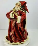 Vintage Old World Santa Clause Christmas Tree Topper Hard Paper Mache 17x11