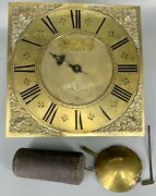 Antique 1700's Ornate Brass Clock Face With Parts Including Weight And Pendulum
