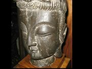 Antique Large Chinese Carved Stone Buddha Head And Custom Wood Stand