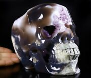 Lifesized 7.5 Agate Amethyst Geode Carved Crystal Skull Realistic Healing