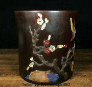6 Old Chinese Rosewood Inlay Shell Dynasty Flower Birds Brush Pot Pencil Vase