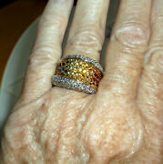Limited Editions Judy Mayfield 18k Yg Rainbow Sapphire Concave Band Ring Size 7