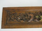 Pair Antique Hand Carved Wood Drawers Corbels Pediment Architectural Fish