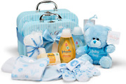 Baby Gift Set – 2 Blue Baby Boy Keepsake Boxes Filled With Baby Gifts