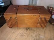 Vintage Oak Dovetail Sewing Box Expandable Accordion 3 Tiers 8 Drawers Romania