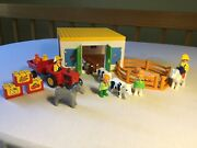 Playmobil 123 Barn Not Complete, Animals, Tractor/trailer, Accessories, People