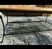 Longaberger Foundry Coll Wrought Iron Coffee Table W/warm Brown Woodcrafts Top