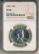1952 Proof Franklin Silver Half Dollar Ngc Certified Pf 66 Free Shipping