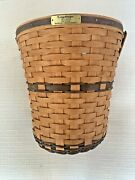 1989 Jw Collection Longaberger Banker's Waste Basket With Box And Protector