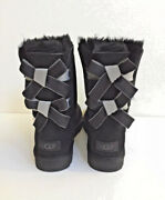 Ugg Short Bailey Bow Ii Shimmer Black Suede Boots Size 7 Womens