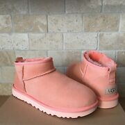 Ugg Classic Ultra Mini Beverly Pink Suede Ankle Boots Size 7 Women