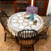 52 White Round Hand Crochet Tablecloth Hollow-out Lace Table Cloth Floral Doily